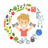 Fitness concept illustration. stock illustration