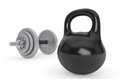 Fitness concept. Kettlebell and dumbbell Royalty Free Stock Image