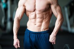 Fitness concept. Muscular and sexy torso of young man having perfect abs, bicep and chest. Male hunk with athletic body. Muscular and sexy torso of young man Royalty Free Stock Photos