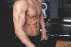 Fitness concept. Muscular and torso of young man having perfect six pack abs, bicep and chest. Bodybuilder with. Athletic body. Toned image stock photos