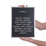 Fitness concept in plastic letters on very old menu board Stock Photos