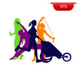 Fitness concept, running woman with stroller, icon, vector illustration Stock Photos