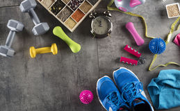 Fitness concept. Set of different objects and symbols concerning fitness. Background concept Royalty Free Stock Photography