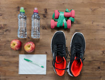 Fitness concept with sneakers. Royalty Free Stock Photography