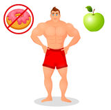 Fitness concept with sport bodybuilder man. Muscular Fitness models. Mens physique athlete. Useful and harmful food Stock Image