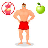 Fitness concept with sport bodybuilder man. Muscular Fitness models. Mens physique athlete. Useful and harmful food Royalty Free Stock Photos