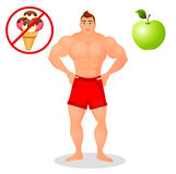 Fitness concept with sport bodybuilder man. Muscular Fitness models. Mens physique athlete. Useful and harmful food Royalty Free Stock Photo