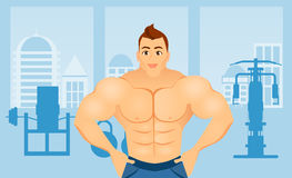 Fitness concept with sport bodybuilder man. Muscular models. Mens physique athlete in a Fitness gym interior. Vector Royalty Free Stock Image