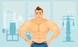 Fitness concept with sport bodybuilder man. Muscular models. Mens physique athlete in a Fitness gym interior. Vector Stock Images