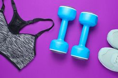 Fitness concept. Sports bra,shoes, dumbbells on purple background. Top view, flat lay royalty free stock photo