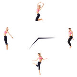 Fitness concept with the sporty woman on a white background on the clock. Stock Photos