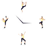 Fitness concept with the sporty woman on a white background on the clock. Royalty Free Stock Images