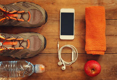 Fitness concept. top view image Royalty Free Stock Images