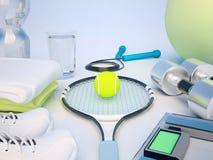 Fitness concept with water, towels, sneakers, tennis racket, ten Stock Photos