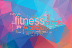 Fitness concept word cloud  on a low poly background Stock Images