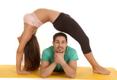 Fitness couple backbend over him Stock Photos