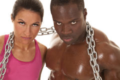 Fitness couple chain sweat close look Royalty Free Stock Photos