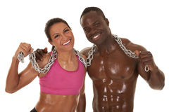 Fitness couple chain sweat smile close Royalty Free Stock Photo