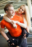 Fitness couple in gym Royalty Free Stock Photo