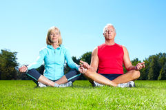 Fitness couple. Happy senior fitness couple in the park stock photo