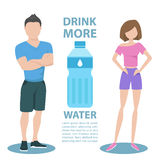 Fitness couple with inscription Drink more water. Healthy lifestyle concept. Royalty Free Stock Image