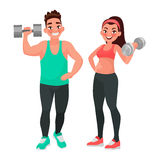 Fitness couple. Man and woman dressed in sports clothes for the Royalty Free Stock Photos
