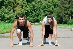 Fitness couple ready to start running Stock Image