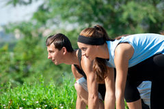 Fitness couple ready to start running Royalty Free Stock Photo