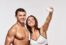 Fitness couple shoting Royalty Free Stock Photo