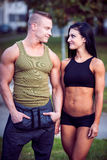 Fitness couple on a street workout Royalty Free Stock Photography