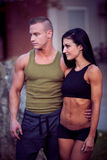 Fitness couple on a street workout Stock Images