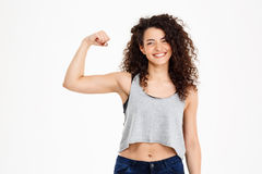 Fitness curly girl doing fitness exercises Stock Image