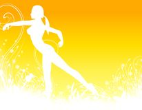 Fitness Dance Background. An illustration featuring a fitness/yoga/dance silhouette set against golden yellow with garden like decoratives Royalty Free Stock Photo