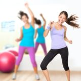 Dancing woman fitness dance studio class royalty free stock photo