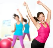 Fitness dance woman dancing class. Woman Fitness dance class aerobics. Women dancing happy energetic in gym fitness class royalty free stock photos