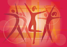 Fitness dancing icons background Royalty Free Stock Photos