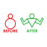 Before and after fitness. Design abstract infographic front .Vector/illustration.fitness icon.sport club Stock Photography