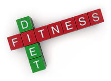 FItness Diet. Fitness & Diet crossword on white Stock Photos