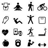 Fitness, diet and healthy lifestyle. Icon set Stock Photography