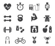 Fitness and diet icon set in black. Royalty Free Stock Image