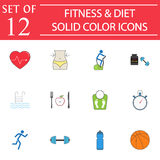 Fitness and diet solid icon set, Healthy life Stock Images