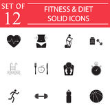 Fitness and diet solid icon set, Healthy life Royalty Free Stock Photography