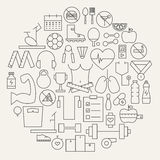 Fitness and Dieting Line Icons Set Circular Shaped Royalty Free Stock Image
