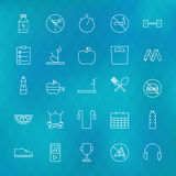 Fitness and Dieting Line Icons Set over Polygonal Blurred Backgr. Ound. Vector Set of Sport and Healthy Lifestyle Food Modern Thin Line Icons for Web and Mobile Stock Photo