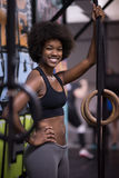 Portrait of black women after workout dipping exercise Royalty Free Stock Photos