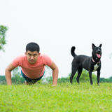 Fitness with dog Stock Photography