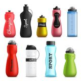 Fitness Drink Bottles Realistic Set. Fitness running and sport water bottles various shapes size and colors realistic objects collection isolated vector Royalty Free Stock Photography