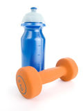 Fitness dumbbell and water bottle Stock Images