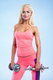 Fitness with dumbbells stock image