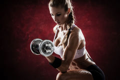 Fitness with dumbbells Stock Photos